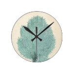 Reloj Redondo Mediano Turquesa/aguamarina magníficas coralina