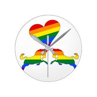 Reloj Redondo Mediano Unicornios del arco iris