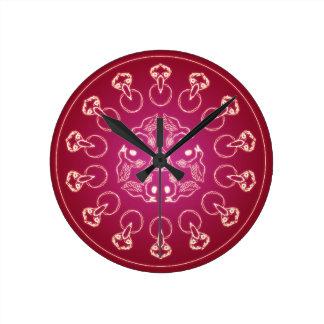 Reloj Redondo Mediano Uno mismo espiral pagano de Wicca del Pentagram