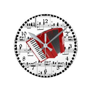 Reloj Redondo Mediano Vamos Polka, acordeón rojo en la partitura