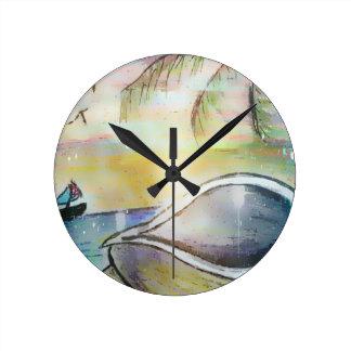 Reloj Redondo Mediano Veleros y Seashells