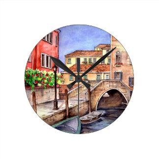 Reloj Redondo Mediano Venecia - acuarela de la pluma y del lavado