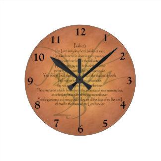 Reloj Redondo Mediano Verso cristiano de la biblia del salmo 23 KJV