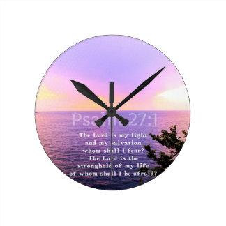 Reloj Redondo Mediano VERSO INSPIRADO de la BIBLIA del 27:1 del salmo