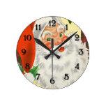 Reloj Redondo Mediano Vintage Santa Clause Navidades Tradicionales