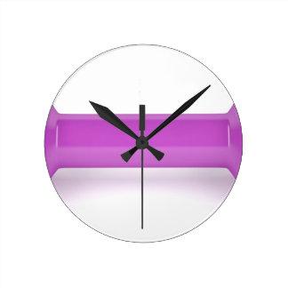 Reloj Redondo Mediano Vista delantera de la pesa de gimnasia rosada