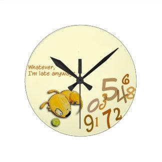 """Reloj Redondo Mediano Yelodoggie """"soy atrasado"""" registro de todos modos"""