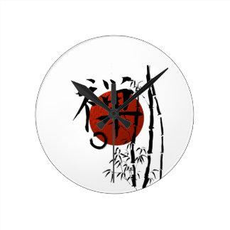 Reloj Redondo Mediano Zen del kanji con Enso y el bambú