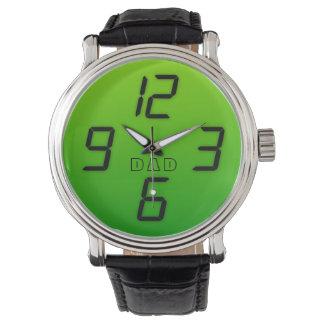 Reloj retro llevado verde del estilo del efecto