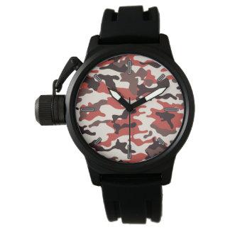 Reloj rojo de Camo de los hombres