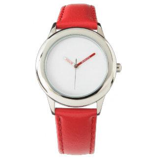 Reloj rojo de la correa de cuero del acero