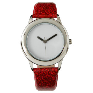 Reloj rojo de la correa del brillo del niño