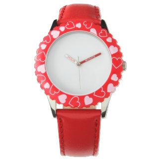 Reloj rojo de los corazones del acero inoxidable,