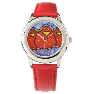 Reloj rojo del acero inoxidable de LimbBirds