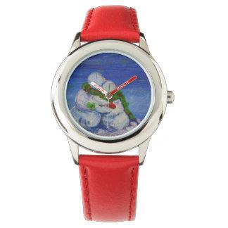 Reloj rojo del acero inoxidable del muñeco de