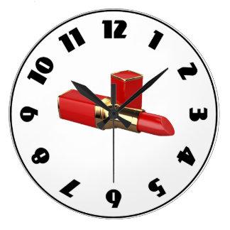Reloj rojo del lápiz labial