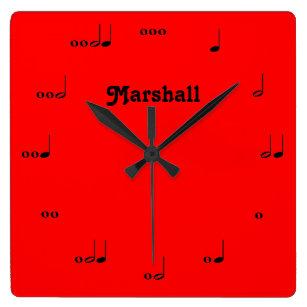 Reloj rojo personalizado de la nota de la música