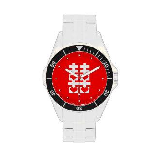 Reloj rojo retro de la letra china doble de la fel