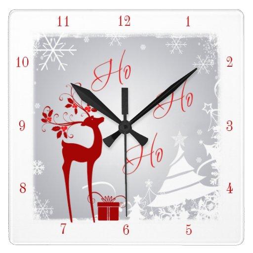 Reloj rojo y del gris Ho Ho Ho del navidad con los