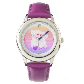 Reloj Rosa lindo polar del abrazo del invierno del amor