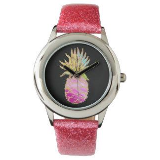 Reloj Rosa y piña del oro