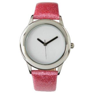 Reloj rosado de la correa del brillo del niño