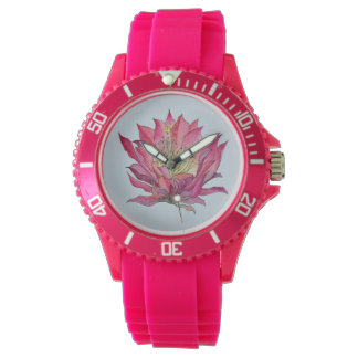 Reloj rosado de la flor del cactus de la acuarela