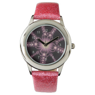 Reloj rosado de las flores del cordón