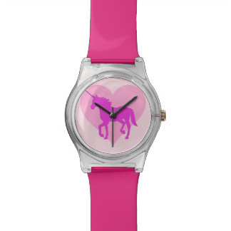 Reloj rosado del corazón del unicornio