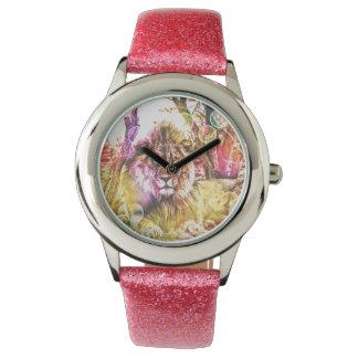Reloj rosado del león del purpurina