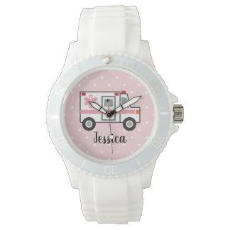 Reloj rosado del paramédico del lunar EMT para