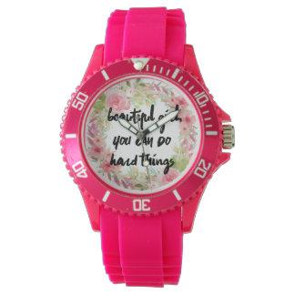 Reloj rosado del poder del chica de los rosas