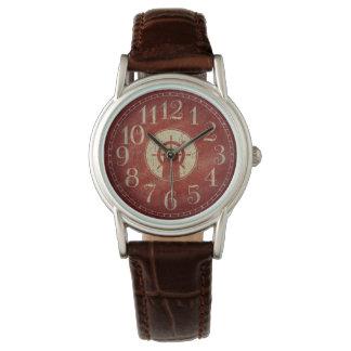 Reloj Rueda roja náutica decorativa única de la nave del