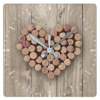 Reloj rústico del corcho del vino