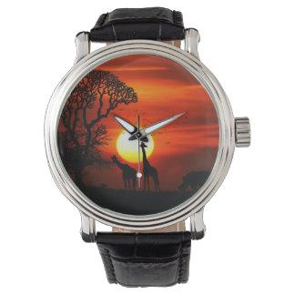 Reloj Siluetas africanas del animal de la puesta del sol