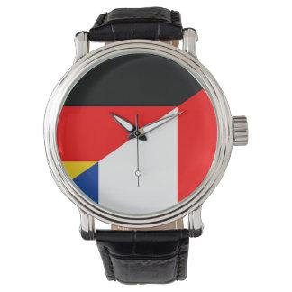 Reloj símbolo del país de la bandera de Alemania Francia