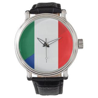 Reloj símbolo del país de la bandera de Italia Francia