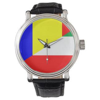 Reloj símbolo del país de la bandera de Rumania Hungría