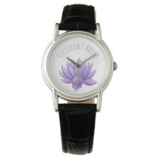 Reloj suculento de la acuarela púrpura