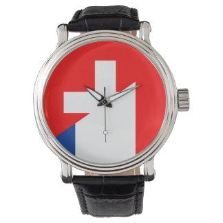 Reloj suizo del símbolo del país de la bandera de Suiza