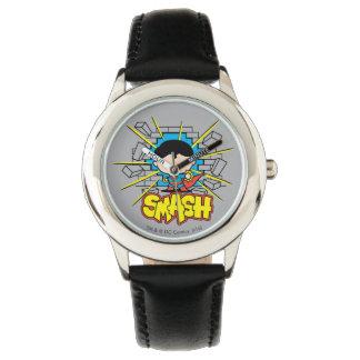 Reloj Superhombre de Chibi que rompe a través de la