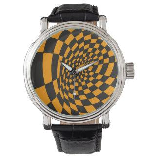 Reloj Tablero de damas amarillo y negro deformado