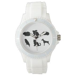 Reloj Tiempo que cuida del mascota negro animal de las