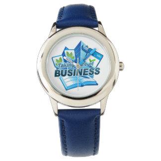 Reloj Tomar el cuidado del azul de acero inoxidable del