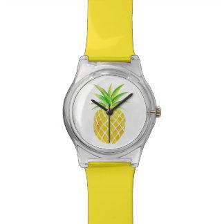 Reloj tropical brillante de la acuarela de la piña