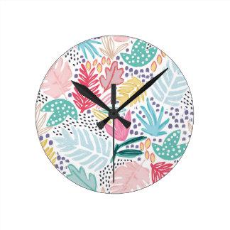 Reloj tropical colorido del blanco del collage