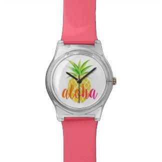 Reloj tropical de la hawaiana de la acuarela de la
