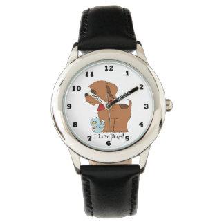 Reloj unisex de los perros del amor de los niños I