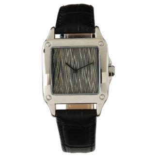 Reloj verde oliva del diseño de la onda del zigzag