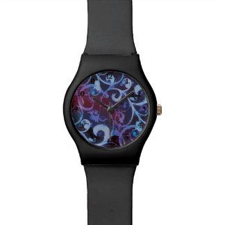Reloj violeta y carmesí de Fleur de la voluta